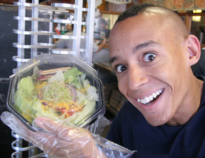 Lenny. Happy. With a salad.